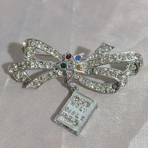Vintage Silver Rhinestone Star Bow & Bible Brooch